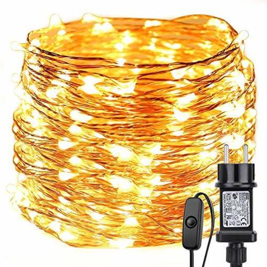 LE Guirnalda de luces LED 22m 200 LED Blanco cálido Alambre de
