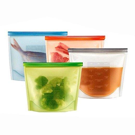 OFKPO 4pcs Silicona Reutilizable Alimentos Bolsa de Almacenamiento