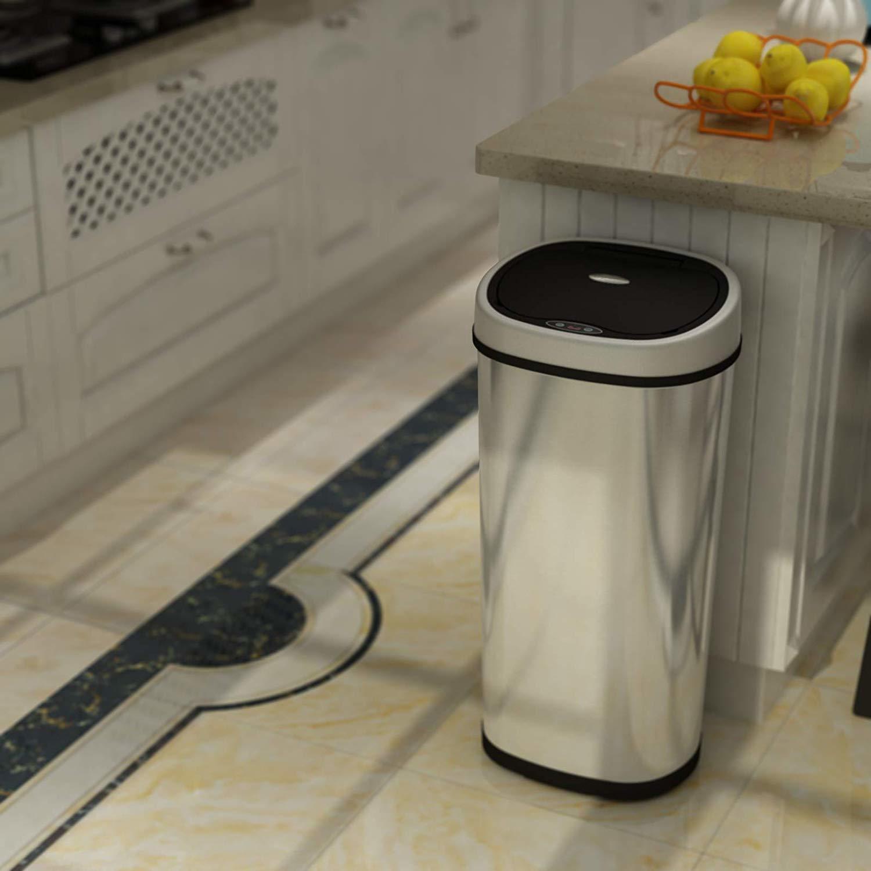 1home 50L - Cubo de Basura de Acero Inoxidable con Sensor automático