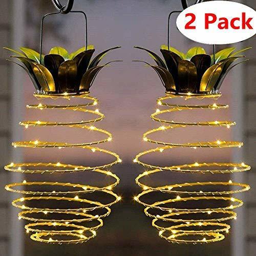 Guirnalda de luces solares de jardín con luces LED de piña decorativas