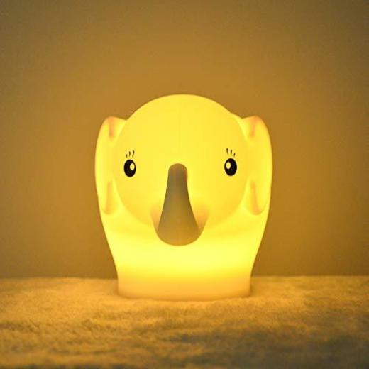 Luz nocturna para niños, Tianhaixing Lámpara LED linda de elefante de silicona