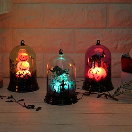 Mobestech 2 Unids Vidrio Cúpula de Luz de Halloween Bruja Calabaza Gato