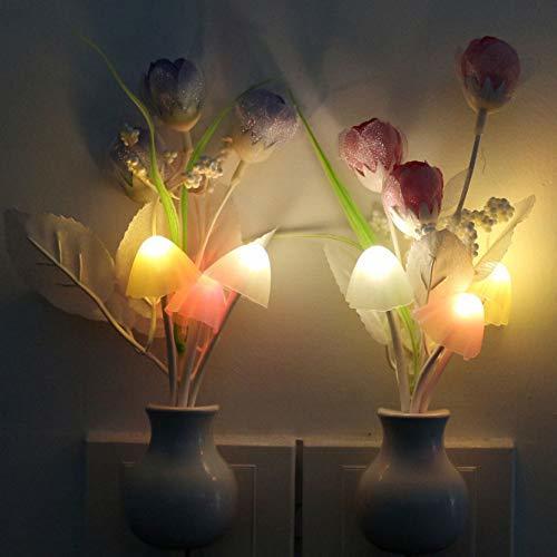 Eu Plug Led Light Mushroom Tulip Flower Sensor de Luz Nocturna Lámpara