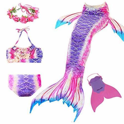 Romance Zone Cola de Sirena para Natación 5pcs Traje de Baño Mermaid