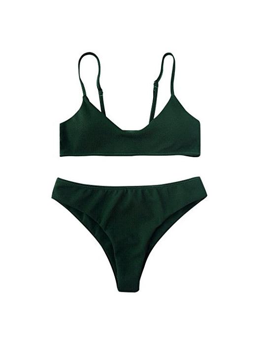 ZAFUL Conjunto De Bikini Bralette Push Up con Relleno Tirantes Ajustables Dos