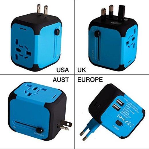 Adaptador Enchufe de Viaje Universal Dos Puertos USB para US EU AU