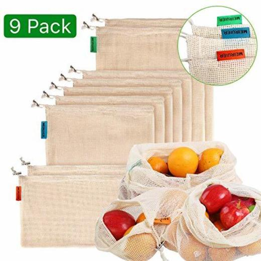 Meiruier 9pcs Bolsa Reutilizable Algodon de Vegetales