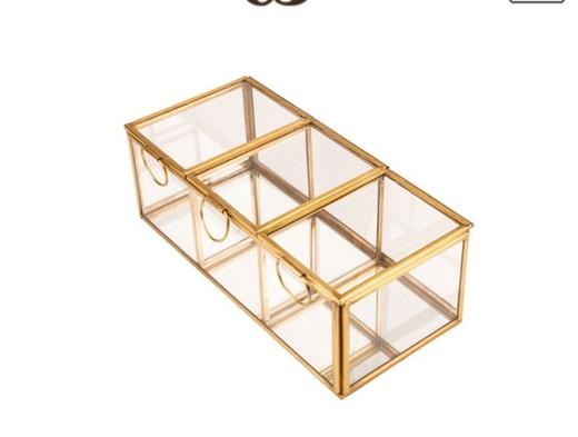 Caja Expositor 4 Compartimentos DECORACION Dorado