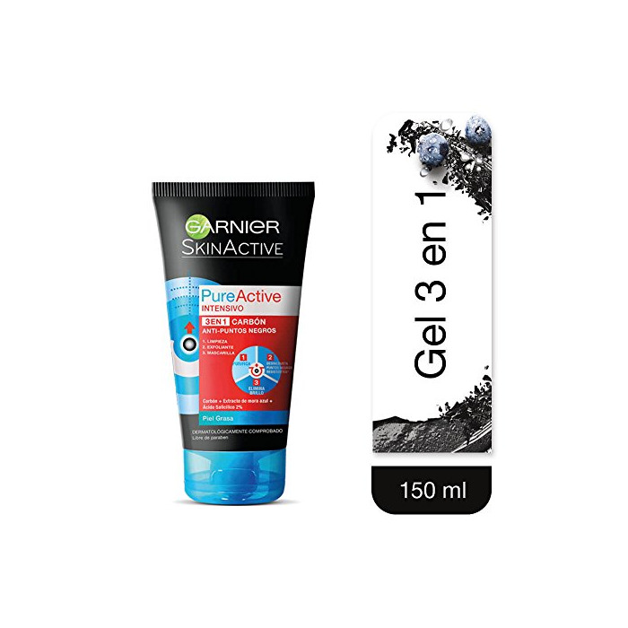 Garnier Skin Active Pure Active Gel Limpiador Pure Active Carbon Intense 3