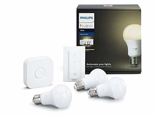 Philips Hue White - Kit de 3 bombillas LED E27, puente e