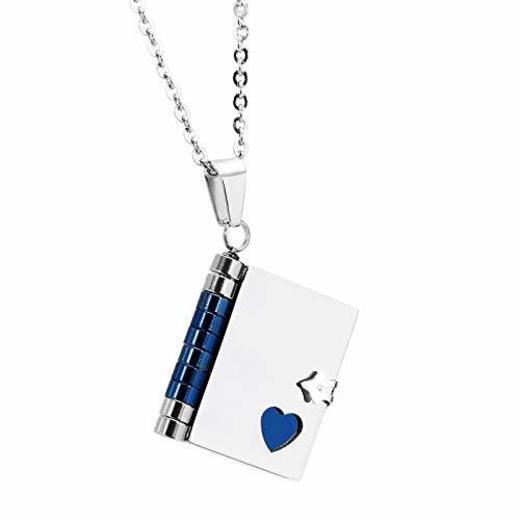 Beydodo Collar de Mujer Colgante Acero Inoxidable Love Story Libro Azul,Talla