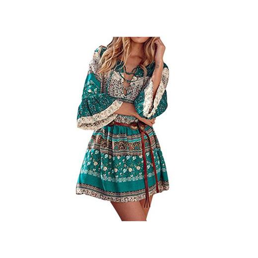 Amlaiworld Vestido Mujer Vestido de Boho con Estampado Floral