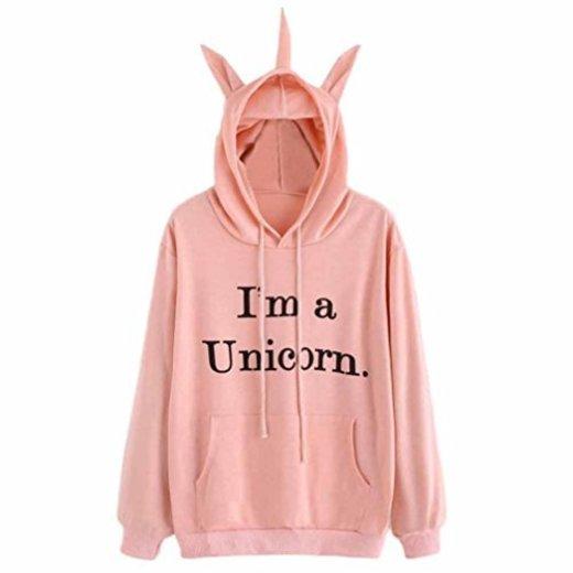 Sudadera Unicornio Mujer,Invierno Mujer Sudadera con Capucha de Manga Larga Camiseta