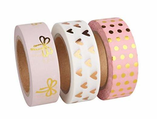 Rayher 60893000Washi Tape Set Rose/oro Foil