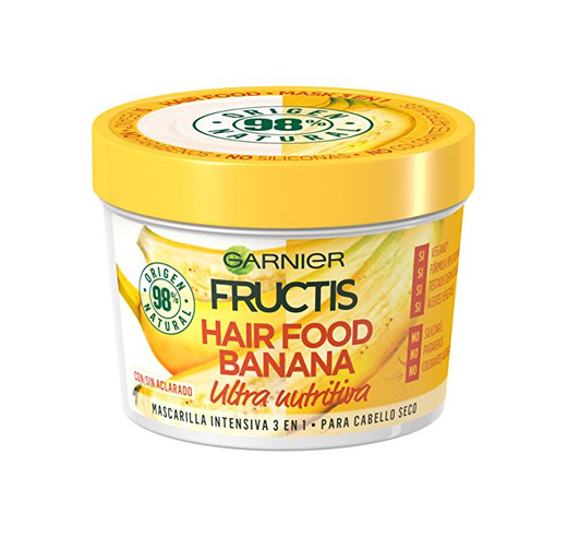 Garnier Fructis Mascarilla 3 en 1 Hair Food Banana , 3 Recipientes