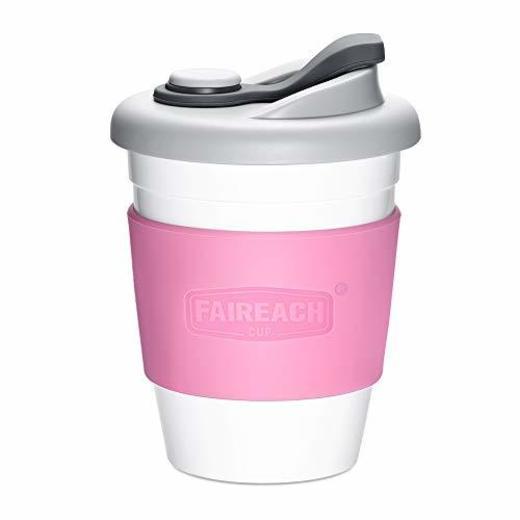 Taza de Café para llevar con Tapa, Mug Café Reutilizable con Manga