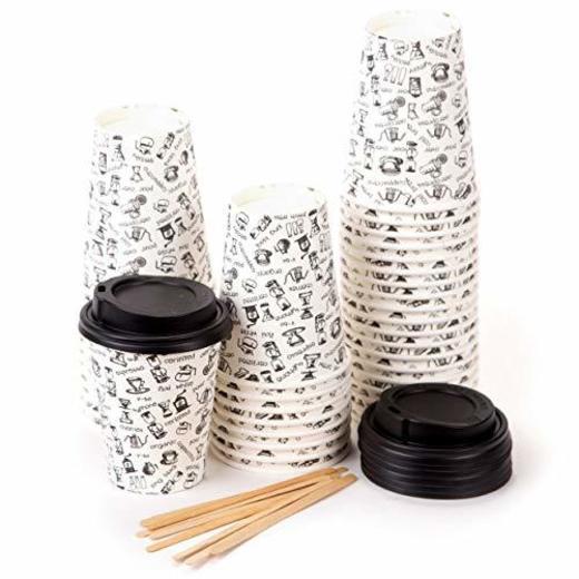 40 Vasos Desechables de Café Para Llevar - Vasos Carton 240 ml