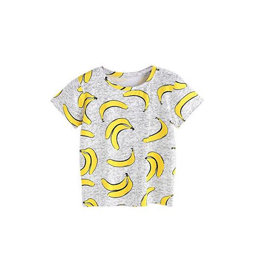 LHWY Camisetas Mujer Manga Corta de Plátano Estampado, Camiseta Básica de Algodón