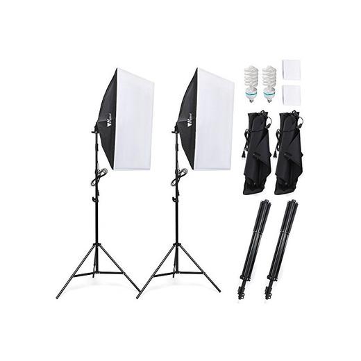 Amzdeal Softbox Focos Kit Iluminacion Fotografia con 2 Ventana de Luz 135W