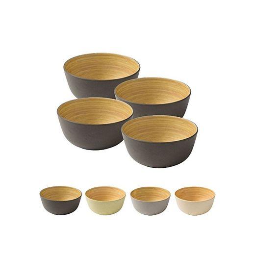 BIOZOYG 4 Piezas Cuenco de bambú de Primera Calidad Negro Antracita a 450 ml I vajillade bambú Cuenco de Cereales Cuenco de Fruta Cuenco de Madera Cuenco de la Ensalada