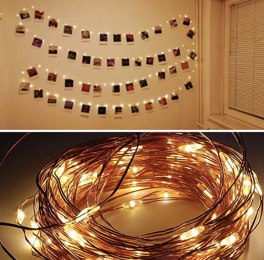 Luces LED blancas con pinzas
