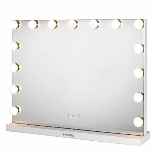 Homfa Hollywood Espejo de Maquillaje Espejo de Mesa 3 Modos de Bombillas