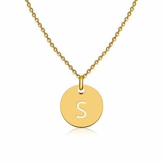 GD GOOD.designs EST. 2015 ® Collar con Letras en Oro, Colgante con