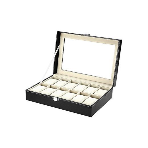 Caja de Relojes Estuche para Relojes y joyeros con 12 Compartimentos