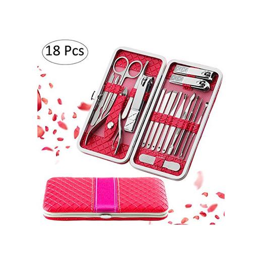 Fixget 18 Set de Manicura Pedicura Kit de uñas deAcero Inoxidable, Tijeras