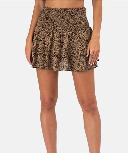 Falda leopardo volantes