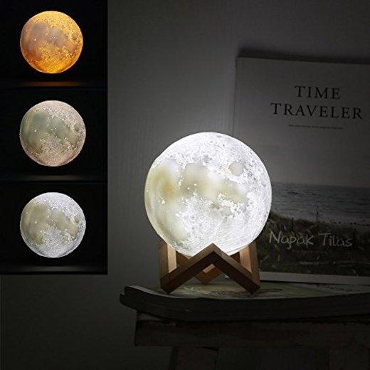 Jiusion 15cm Luna Lámpara Impresión 3D Luz de Noche con Base