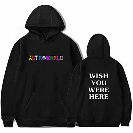 JJZHY Travis Scott Astroworld Fashion Letter Imprimir Hoodie con Gato Bolsa Unisex