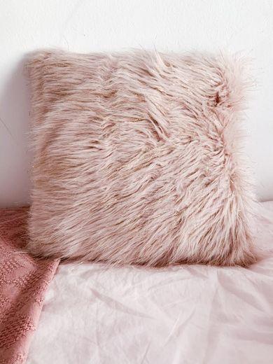 Funda de cojín de imitación a piel rosa 40x40 Ice
