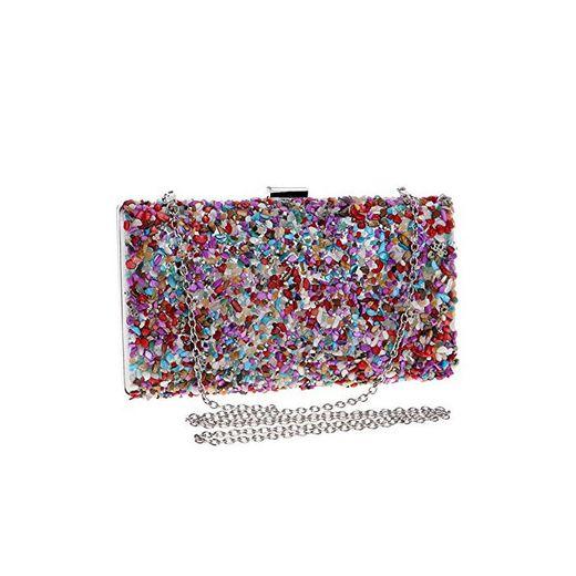 Kentop Bolsas de Embrague para Mujer con Piedra Incrustada Coloreado Bolso de
