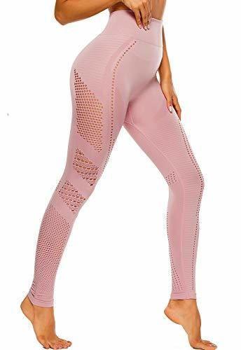 FITTOO Leggings Sin Costuras Corte de Malla Mujer Pantalon Deportivo Alta Cintura