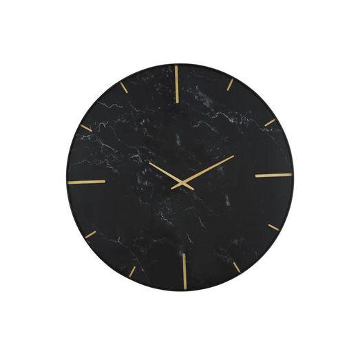 Relógio em vidro impresso em ouro e mármore preto D90