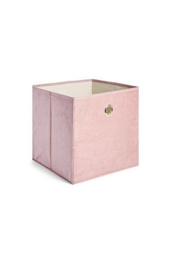 Caixa arrumação bombazina cor-de-rosa