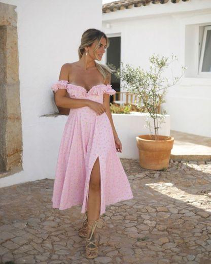Vestido floral rosa bebé