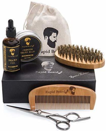 Kit Barba Cuidado para Hombre - Cepillo Barba De Cerdas Naturales De