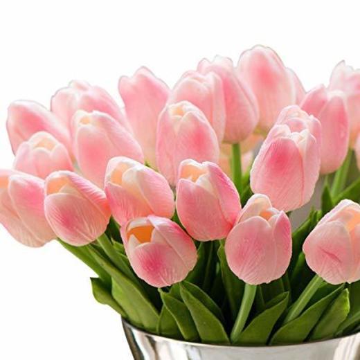 Tulipán Flores Artificiales 10 Piezas Ideal para decoración de casa y patio-Rosado