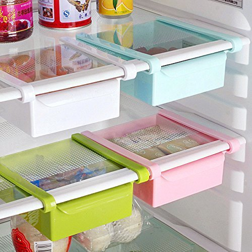 Bluelover Cocina Plástico Nevera Nevera Rack de almacenamiento Congelador Estante Holder Cocina