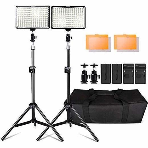 Kit de LED Iluminación,Yeeteem 160 Regulable Ultra High Power Panel Cámara Digital