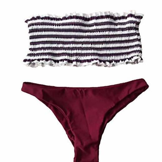 JFan Mujer Bikini Bandeau de Rayas Bralette Traje de Baño de Tubo