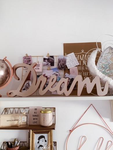 Palabra decorativa de pared cobriza 65x23 Dream