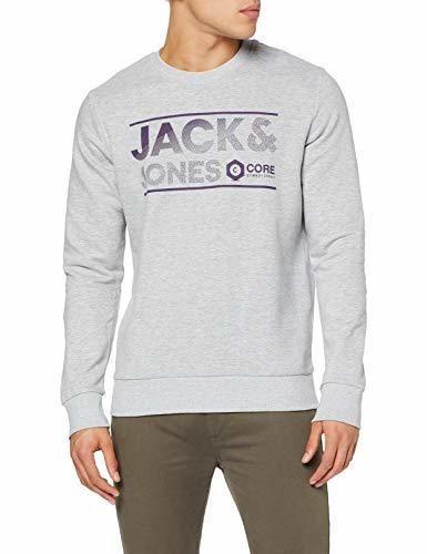 JACK & JONES JCOSEAD Sweat Crew Neck FST Sudadera, Gris