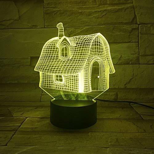 Abstract House Night Light Sleep Light Battery Power Table Lamp Dormitorio Decoración