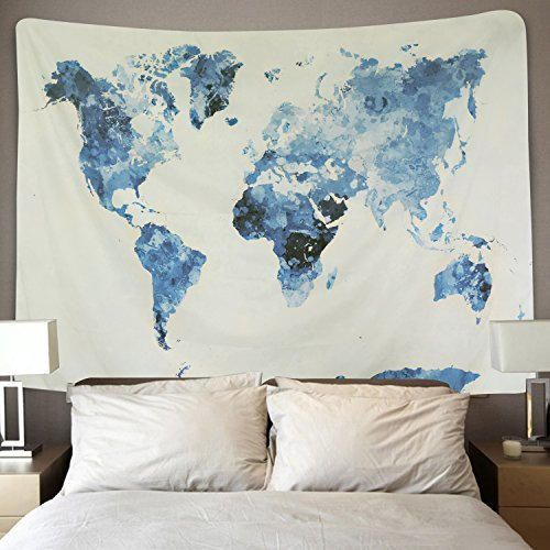 BLEUM CADE Blue Watercolor World Map Tapestry Abstract Splatter Painting Tapestry Wall