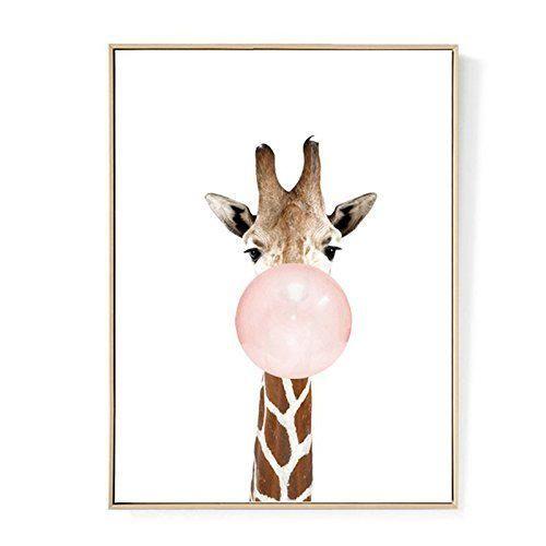 TOOGOO Kawaii Animal Jirafa Poster de Impresion de Arte Pintura de Lona