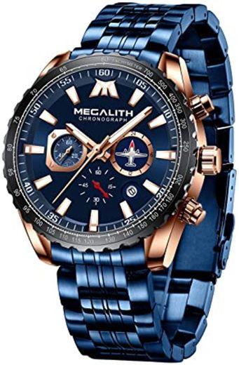 MEGALITH Relojes Hombre Relojes Grandes de Pulsera Militares Cronografo Diseñador Luminosos Impermeable