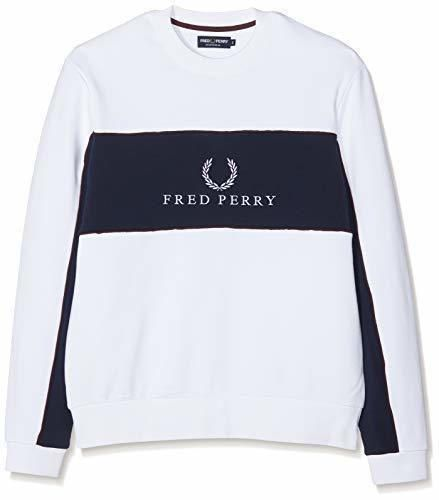 Fred Perry M4553-PANEL Piped SWEATSHIRT-100-L Sudadera, Blanco